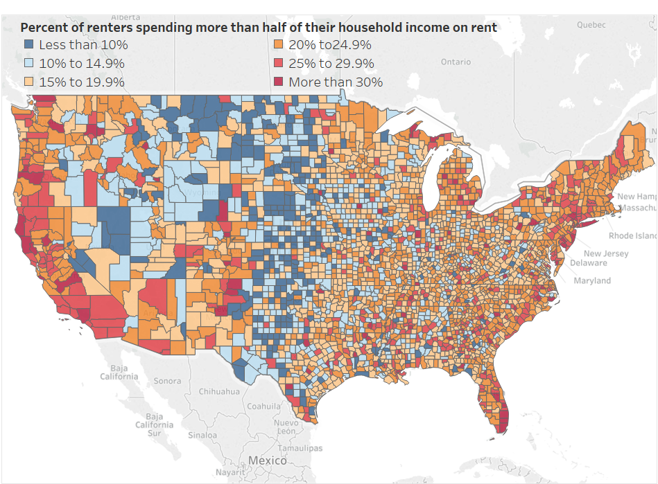 where renters spend more of their income on rent